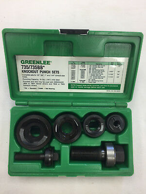 "Greenlee 735BB 1/2""-1 1/4"" Ball Bearing Manual Knock Out Punch Set w/Case"