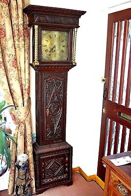 Antique Mosley, Peniston Yorkshire, 18th Century Carved Oak Grandfather Clock