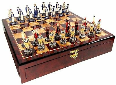 Pirates Vs Royal Navy Pirate Chess Set W Gloss Cherry Color STORAGE Board