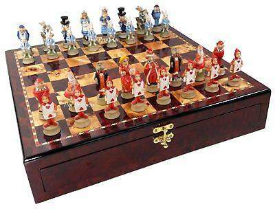 Alice in Wonderland Fantasy Chess Set W/ Cherry Color STORAGE Board