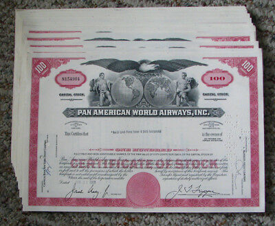 Dealers! 24 old 1960's PAN AM Pan American World Airways stock certifcates