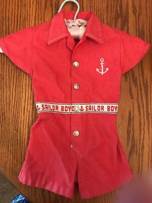 Vintage Baby Boy Outfit 24 Months Healthtex Nautical Sailor Red Permanent Press