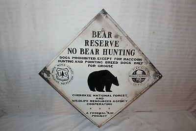"""Vintage 1950s Bear Reserve No Hunting Forest Fishing Gas Oil 26"""" Metal Sign"""