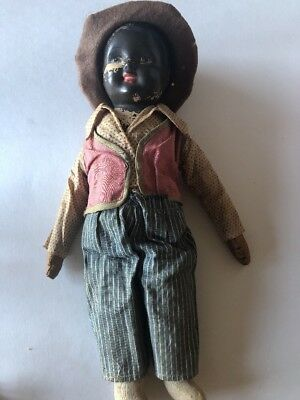 Antique Black Americana Baby Doll African American Composition & Cloth 14""