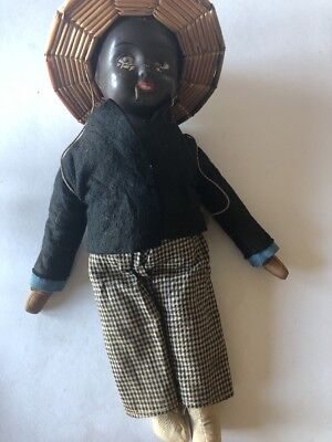 Antique Black Americana smoking  Doll African American Composition & Cloth 14""