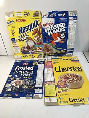 1990s Lot Of 4 Cereal Boxes Nestle Nesquick Frosted Flakes Cherios