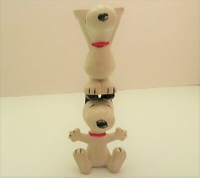 Stacking Snoopy PVC figurines lot of 2 Toy Peanuts 1966 Hong Kong HardToFind