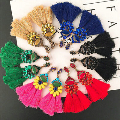 Womens Bohemian Earrings Long Tassel Fringe Drop Dangle Ear Stud Boho Jewelry