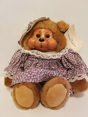 The Woodbeary collection Teddy Bear with Wood Face in Floral Dress, Bloomers
