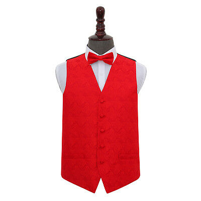 DQT Woven Floral Paisley Red Mens Wedding Waistcoat & Bow Tie Set