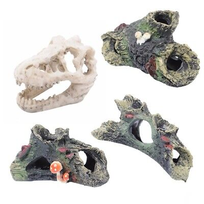Aquarium Decoration Resin Fish Ornaments Hollow Dinosaur Skull Driftwood Trunk