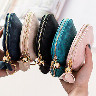 Ladies Leather Small Mini Wallet Card Key Holder Zip Coin Purse Clutch Bag UK