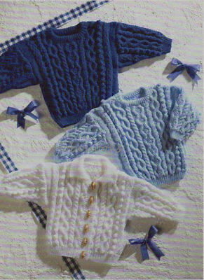 Cable Knitting Pattern 8 Ply BABY / Children  CARDIGANS & SWEATER