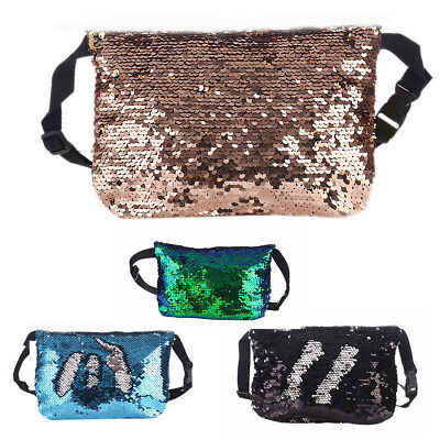 Women Mermaid Sequins Outdoor Sports Fanny Pack Bum Purse Clutch Pouch Waist Bag
