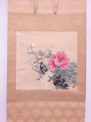 3691831: Japanese Wall Hanging Scroll / Hand Painted / Four Seasons Flowers