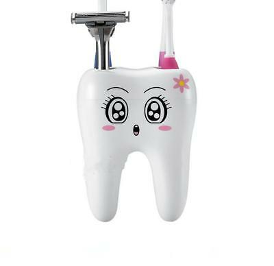 Cute 4 Hole Tooth Style Toothbrush Holder Bracket Container Bathroom Smiling 8C