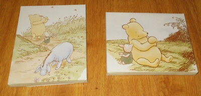2 Disney Classic Winnie the Pooh Piglet Eyore Canvas Wall Art Picture Set 8 x 10