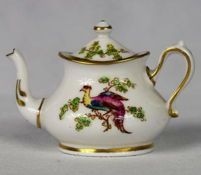 Miniature Vintage Crown Staffordshire Exotic Birds #A4670 Porcelain Teapot