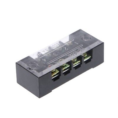 600V 15A 4 Positions Dual Rows Covered Barrier Screw Terminal Block Strip