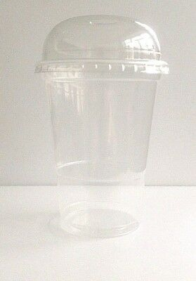 50 MILKSHAKE /SLUSH/SMOOTHIE CUPS WITH DOMED LIDS+FREE STRAWS-500cc 1/2L NUPIK