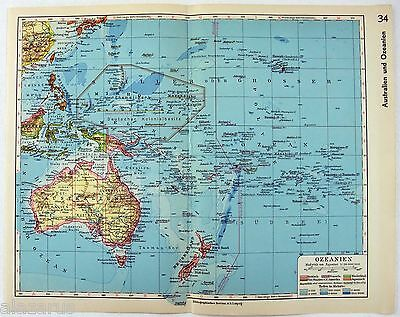 Original 1933 Map of Oceania by Meyers