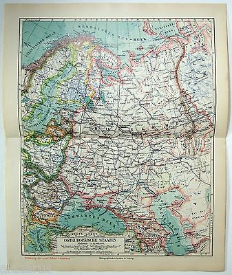 Original 1924 German Map of The Eastern European States by Meyers