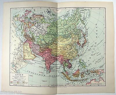 Original 1924 German Map of Asia by Meyers