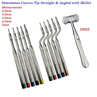 Osteotomes Sinus Offset Convex Angled & Straight Tip Dental Implants instruments