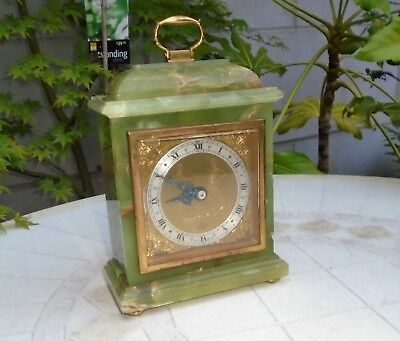 Antique Elliot of London Green Onyx Mantel Bracket Clock Lancaster Retailer