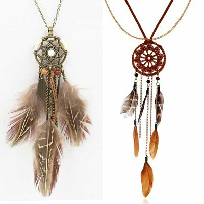Charm Boho Womens Feather Dreamcatcher Necklace Pendant Sweater Chain Jewellery