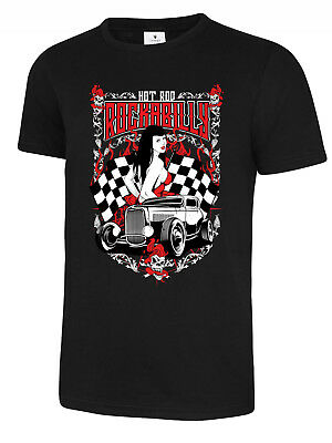 OLD SCHOOL ROCKABILLY HOT ROD RACER  PINUP BABE mens t-shirt tee new 2017