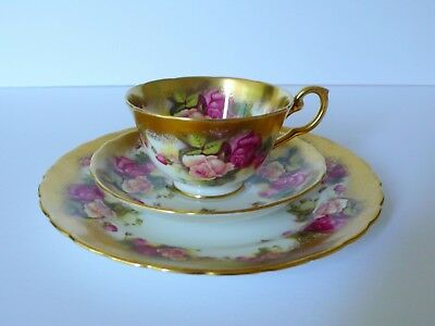 Royal Chelsea Golden Rose Cup & Saucer Plate Trio