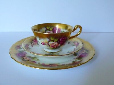 Royal Chelsea Golden Rose Cup & Saucer Plate Trio #1