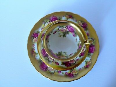 Royal Chelsea Golden Rose Cup & Saucer Plate Trio #2