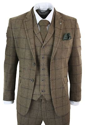 Mens 3 Piece Tweed Suit Oak Brown Herringbone Check Tailored Fit Peaky Blinders