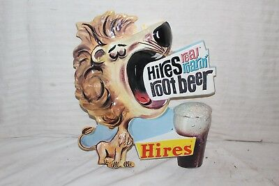 """Rare Vintage 1960's Hires Root Beer Soda Pop Gas Station 15"""" Embossed Sign"""