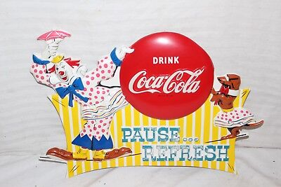 "Rare Vintage 1960's Coca Cola Circus Clown Soda Pop Gas Oil 18"" Embossed Sign"