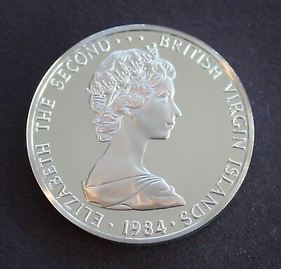 British Virgin Islands 1984 Silver $1 Brilliant Frosted Proof, KM# 6a