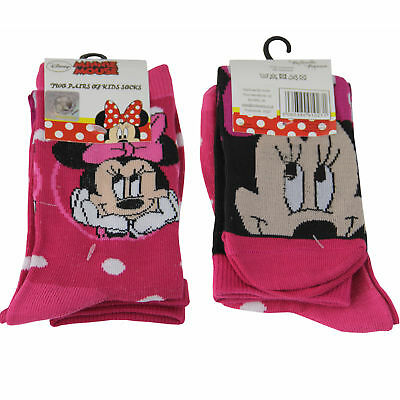 2 Pairs Children's Socks - Licensed Character Design - Minnie Mouse Size 12-2.5