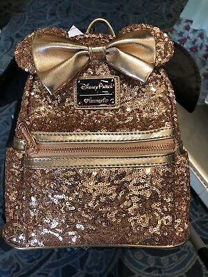 Disney Parks Minnie Mouse Rose Gold Loungefly Backpack NEW W Tag  SOLD OUT  e35382b714