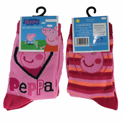 2 Pairs Children's Socks - Licensed Character Design - Peppa Pig Size 12-2.5