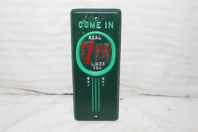 Rare Vintage 1940's 7Up 7 Up Soda Pop Gas Station Embossed Metal Door Push Sign