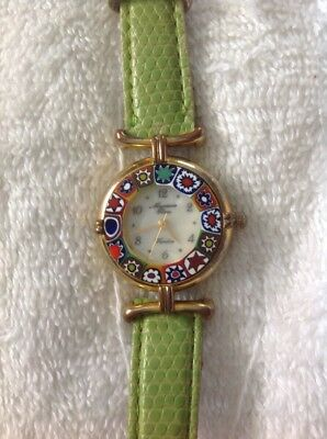 Murano Glass Watch 18k Gold Plated Chartreuse GREEN with Gold Accent from Venice