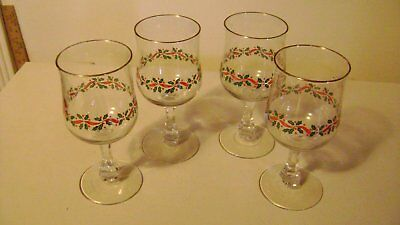 Arbys Holly Berry Red Ribbon  Rock Stemmed Water Glasses Gold Rim(4)