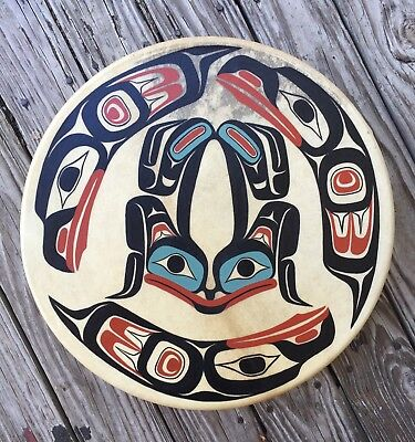 Northwest Coast Native Made Drum (Signed Ron Powers) Big 14 Inches