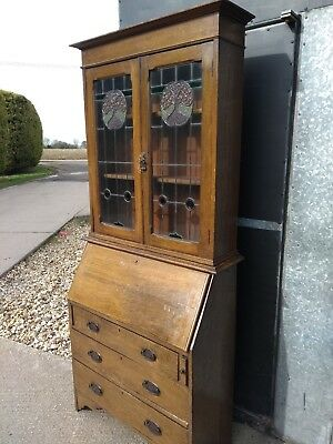 Arts & Crafts Oak Display Cabinet, Bureau or Writing Desk Stained & Leaded Glass