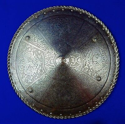 British English Antique 19 Century Victorian Etched Metal Large Shield
