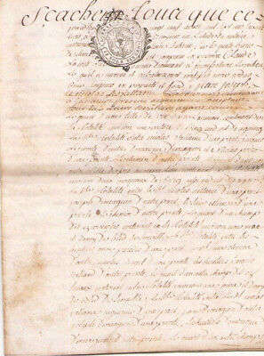 1763 rare 4pp skin parchment manuscript document notary french original stamp