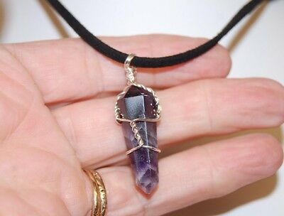 Amethyst Wire Wrapped Pendant On Adj Chord Metaphysical Crystal Healing, Reiki,