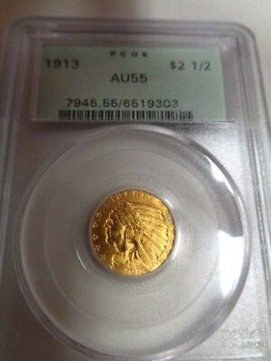 1913 Gold $2 1/2 Indian COIN PCGS AU 55